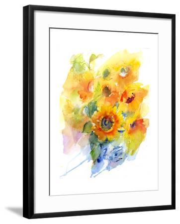Sunflowers in Vase, 2016-John Keeling-Framed Giclee Print