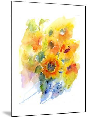Sunflowers in Vase, 2016-John Keeling-Mounted Giclee Print