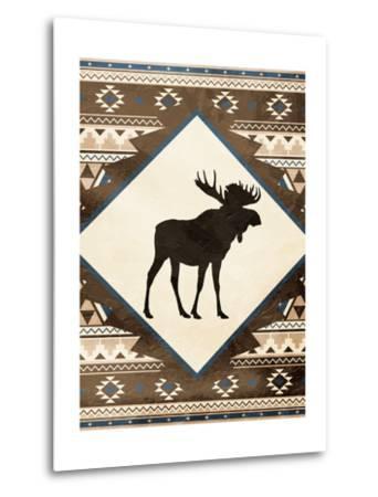 Moose Pattern Mate-Jace Grey-Metal Print