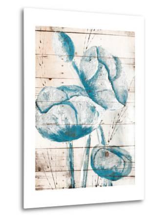 White Wood Blue Florals Mate-Jace Grey-Metal Print