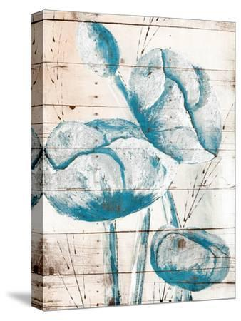 White Wood Blue Florals Mate-Jace Grey-Stretched Canvas Print