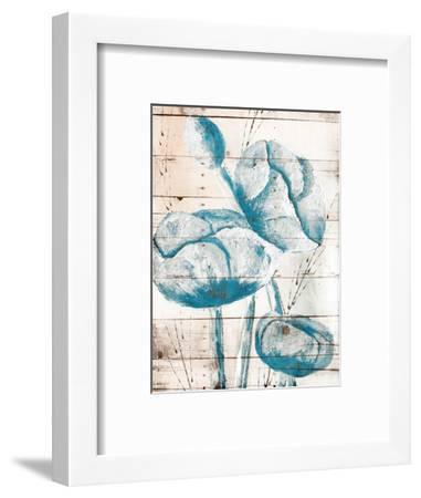 White Wood Blue Florals Mate-Jace Grey-Framed Art Print