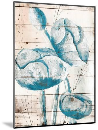 White Wood Blue Florals Mate-Jace Grey-Mounted Art Print