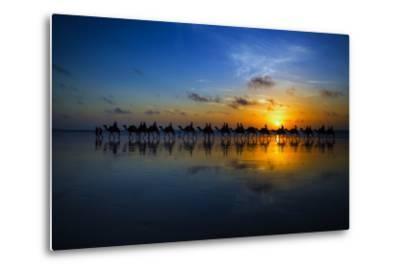 Sunset Camel Ride-Louise Wolbers-Metal Print