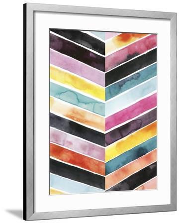 Vivid Watercolor Chevron II-Grace Popp-Framed Art Print
