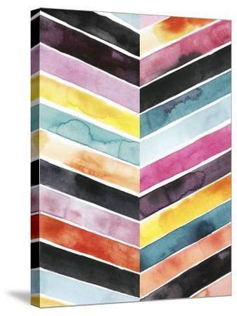 Vivid Watercolor Chevron II-Grace Popp-Stretched Canvas Print