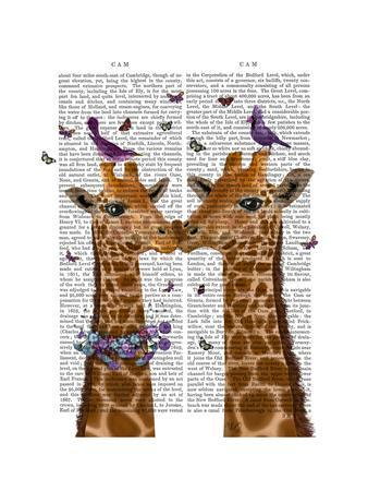 Kissing Giraffes with Birds-Fab Funky-Stretched Canvas Print