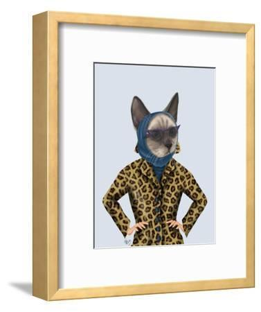 Cat with Leopard Jacket-Fab Funky-Framed Art Print
