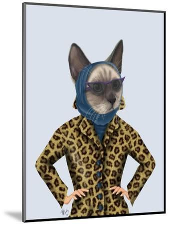 Cat with Leopard Jacket-Fab Funky-Mounted Art Print