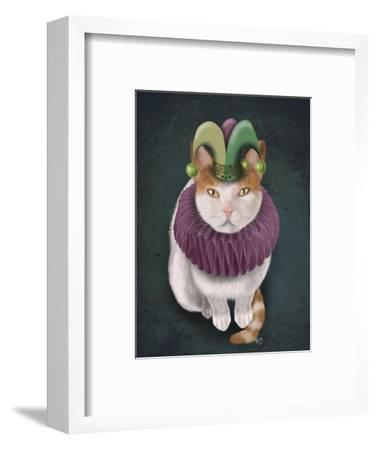 Cat, White with Jester Hat-Fab Funky-Framed Art Print