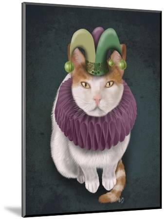 Cat, White with Jester Hat-Fab Funky-Mounted Art Print