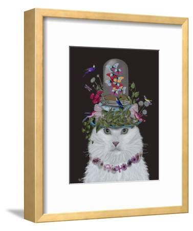 Cat, White with Butterfly bell jar, on black-Fab Funky-Framed Art Print