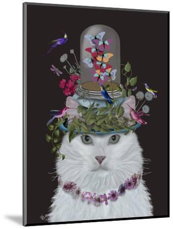 Cat, White with Butterfly bell jar, on black-Fab Funky-Mounted Art Print