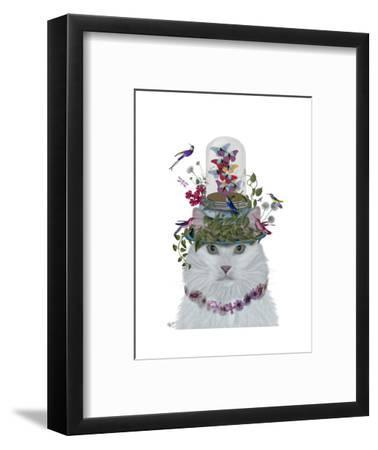 Cat, White with Butterfly bell jar-Fab Funky-Framed Art Print