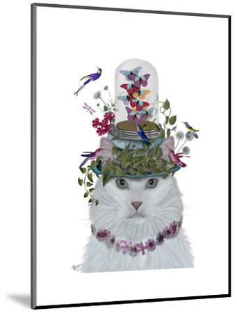 Cat, White with Butterfly bell jar-Fab Funky-Mounted Art Print