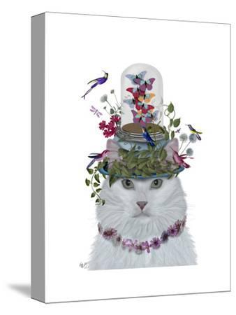 Cat, White with Butterfly bell jar-Fab Funky-Stretched Canvas Print