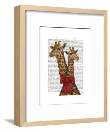Giraffes and Bow-Fab Funky-Framed Art Print