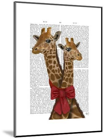 Giraffes and Bow-Fab Funky-Mounted Art Print