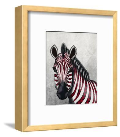 Zebra, Red Love Hearts-Fab Funky-Framed Art Print