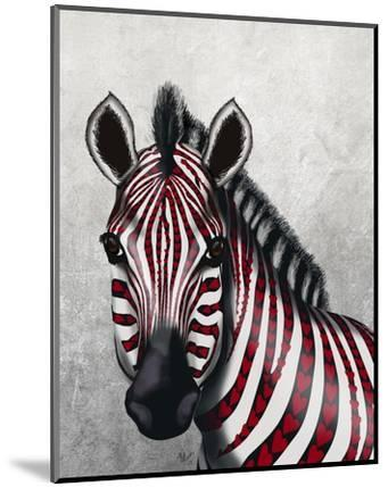 Zebra, Red Love Hearts-Fab Funky-Mounted Art Print