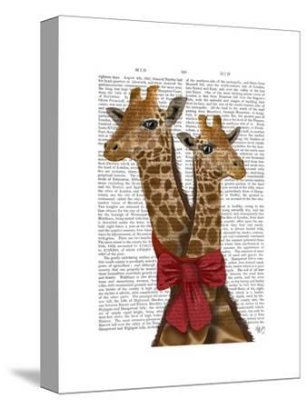 Giraffes and Bow-Fab Funky-Stretched Canvas Print