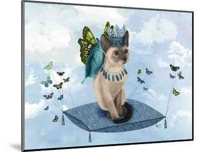 Cat on Pillow with Butterflies-Fab Funky-Mounted Art Print