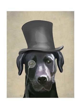 Black Labrador, Formal Hound and Hat-Fab Funky-Framed Art Print