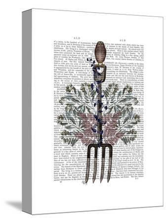 Garden Fork and Berries-Fab Funky-Stretched Canvas Print