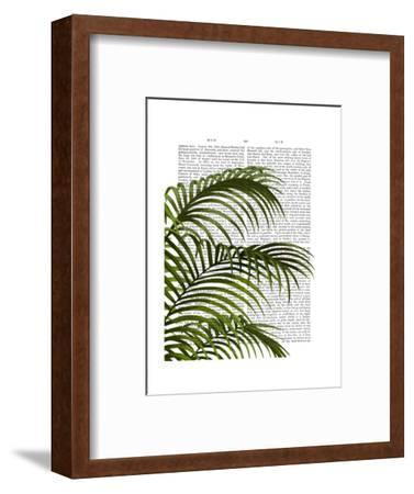 Palm Leaf 1, Green On White-Fab Funky-Framed Art Print