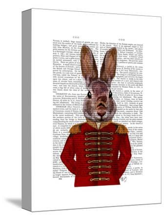Military Rabbit in Red-Fab Funky-Stretched Canvas Print