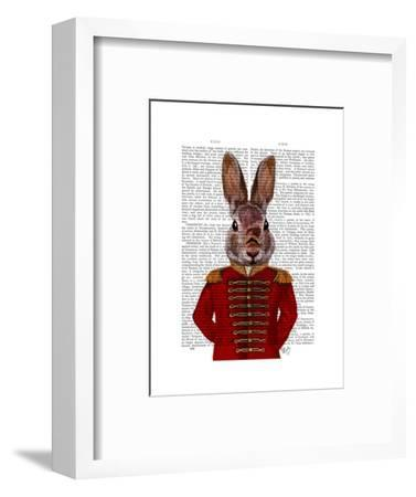Military Rabbit in Red-Fab Funky-Framed Art Print