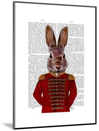Military Rabbit in Red-Fab Funky-Mounted Art Print