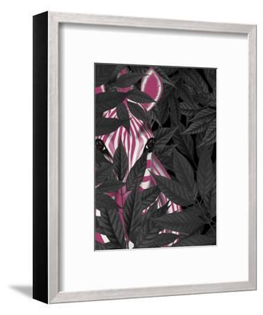 Zebra, Pink in Black Leaves-Fab Funky-Framed Art Print