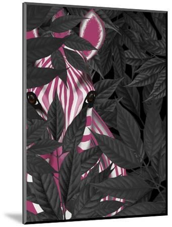 Zebra, Pink in Black Leaves-Fab Funky-Mounted Art Print