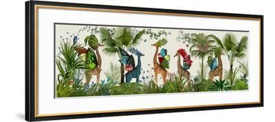 Tropical Giraffes, Bright-Fab Funky-Framed Art Print