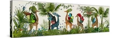 Tropical Giraffes, Bright-Fab Funky-Stretched Canvas Print