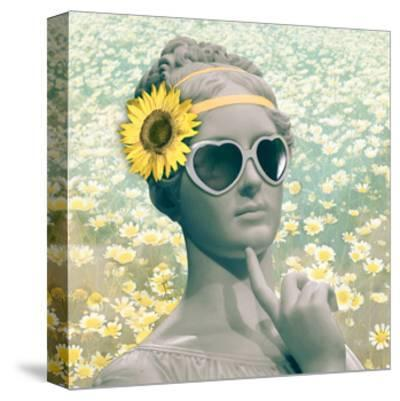 Hipster Statue with Sunflowers-THE Studio-Stretched Canvas Print