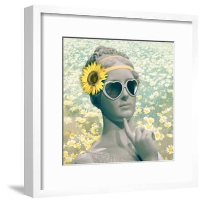 Hipster Statue with Sunflowers-THE Studio-Framed Premium Giclee Print