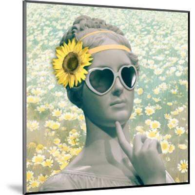 Hipster Statue with Sunflowers-THE Studio-Mounted Premium Giclee Print