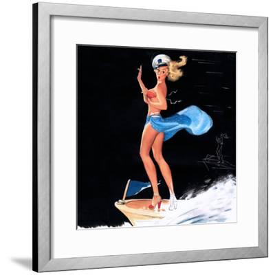 """Can You Tie This"" 1950s Pin-Up Calendar Girl by Freeman Elliott-Piddix-Framed Art Print"
