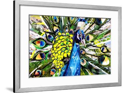 Portrait of Colorful Peacock-Sarah Jackson-Framed Art Print