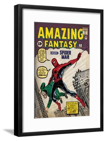 Marvel Comics Retro: Amazing Fantasy Comic Book Cover No.15, Introducing Spider Man (aged)--Framed Poster