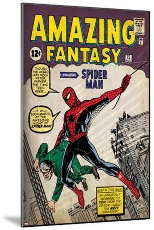 Marvel Comics Retro: Amazing Fantasy Comic Book Cover No.15, Introducing Spider Man (aged)--Mounted Poster