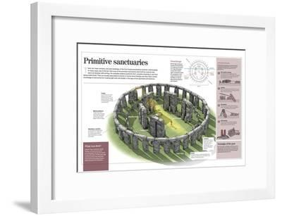 Infographic About Primitive Temples, Focusing on Stonehenge and Göbekli Tepe--Framed Poster