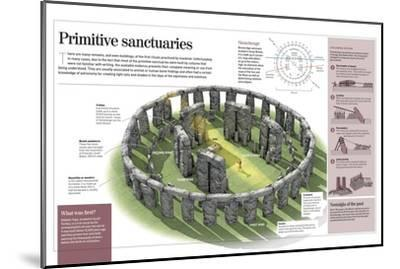Infographic About Primitive Temples, Focusing on Stonehenge and Göbekli Tepe--Mounted Poster