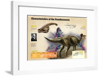 Infographic of the Corythosaurus, a Dinosaur from the Cretaceous Period--Framed Poster