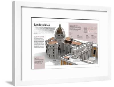 Infografía Acerca De Las Basílicas, (Basílica De San Pedro, El Vaticano, Roma, Siglo XVII)--Framed Poster