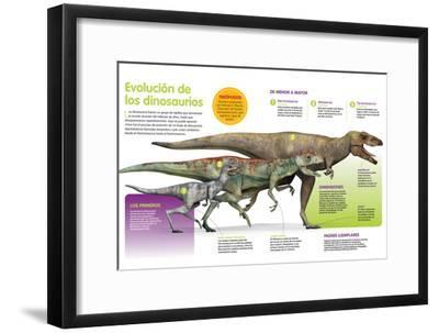 Infografía Que Muestra La Evolución De Los Dinosaurios a Lo Largo De La Era Mesozoica--Framed Poster