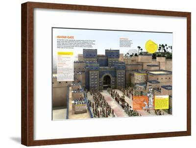 Infographic of the Door of Ishtar (Irak), One of the Eight Monumental Doors of the Wall of Babylon--Framed Poster
