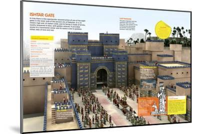 Infographic of the Door of Ishtar (Irak), One of the Eight Monumental Doors of the Wall of Babylon--Mounted Poster